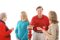 Group of people snacking. Isolated on a white background Royalty Free Stock Images