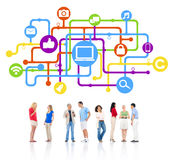 Group  of People with Social Media Connection Stock Photography