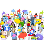 Group of People with Social Media icon Stock Images