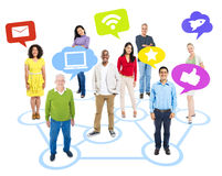Group Of People And Social Media Icons Royalty Free Stock Photos