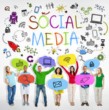 Group of People with Social Media Theme. Group of Multiethnic People with Social Media Theme Royalty Free Stock Photo
