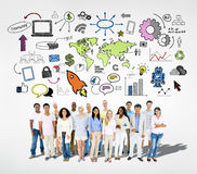 Group of People with Social Networking Stock Image