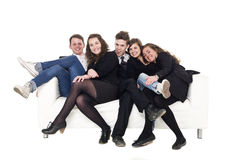 Group of people in a sofa Stock Photos