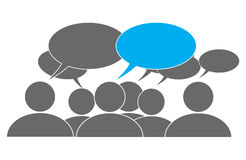 Group of people with speech balloons. Generic group of gray people characters with blank speech balloons above their heads. Blank copyspace for your words Stock Images