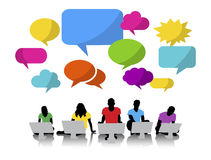 Group of People with Speech Bubble Digital Communication Concept Stock Photography