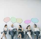 Group of people with speech bubble royalty free stock image