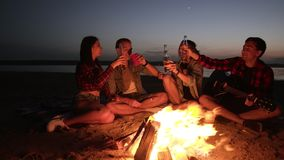 Group of people are spending time near the bonfire on the beach at night. Drinking alcohol, cheers. Young man is holding. A guitar. Front view stock video footage
