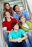 Group of people on the stairs Stock Images