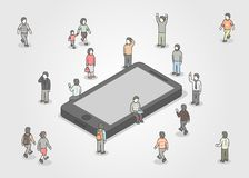 Group of people standing around smartphone. Social network and media concept. Isometric design. Royalty Free Stock Photography