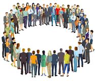 Group of people standing in circle vector illustration