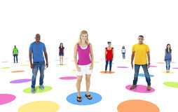 Group of People Standing on Colorful Circle Royalty Free Stock Images
