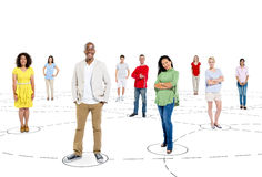 Group of People Standing with a Connection Concepts Royalty Free Stock Photo