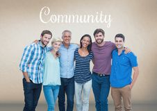 Group of people standing in front of Community text Royalty Free Stock Image