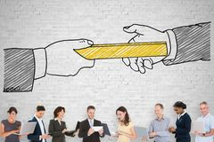 Passing Relay Baton. Group Of People Standing On Front Of Passing Relay Baton Concept Image royalty free stock image