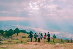 Group Of People Standing On Hill royalty free stock image