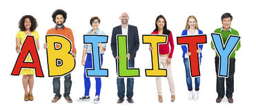 Group of People Standing Holding Ability Letter Royalty Free Stock Image