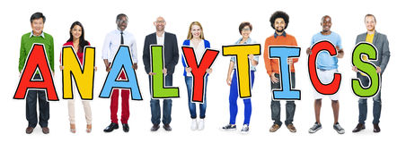 Group of People Standing Holding Analytics Royalty Free Stock Photo
