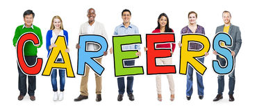 Group of People Standing Holding Careers Letter Stock Image