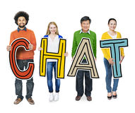Group of People Standing Holding Chat Stock Photo