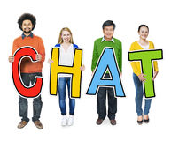 Group of People Standing Holding Chat Royalty Free Stock Photos
