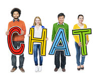 Group of People Standing Holding Chat Concept Stock Image