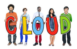 Group of People Standing Holding Cloud Letter Royalty Free Stock Photo