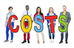 Group of People Standing Holding Costs Letter Stock Photos