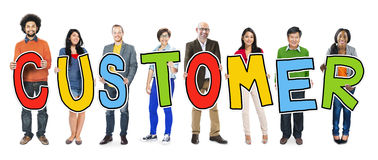 Group of People Standing Holding Customer Stock Photo
