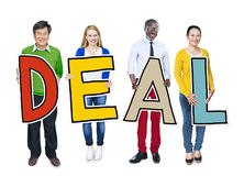 Group of People Standing Holding Deal Letter Stock Images