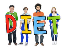 Group of People Standing Holding Diet Letter Stock Images