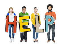 Group of People Standing Holding Help Stock Images