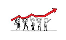 Group of people standing and holding indicator graph of growth in business. creative teamwork concept. isolated illustratio royalty free illustration
