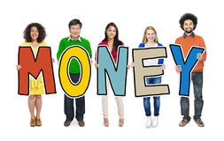 Group of People Standing Holding Money Royalty Free Stock Image