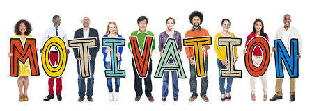 Group of People Standing Holding Motivation Letter Royalty Free Stock Images