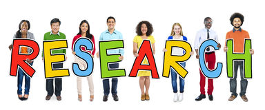 Group of People Standing Holding Research Letter Stock Photography