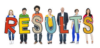 Group of People Standing Holding Result Letter Stock Photography