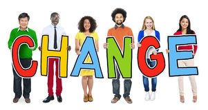 Group of People Standing Holding Word Change Stock Photos