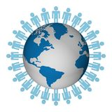 Group of people standing round globe. 3D image Stock Photography