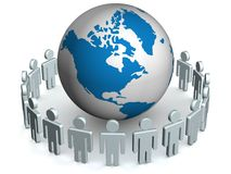Group of people standing round globe. 3D image Stock Photos