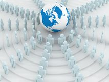 Group of people standing round globe. 3D image Royalty Free Stock Images