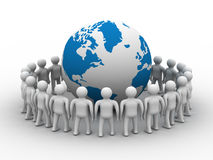 Group of people standing round globe. 3D image Stock Photo