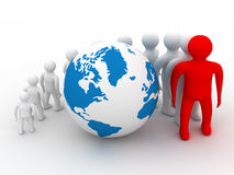 Group of people standing round globe. 3D image Royalty Free Stock Photography