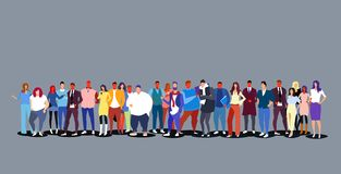 Group of people standing together diverse men women businesspeople big crowd full length horizontal stock illustration