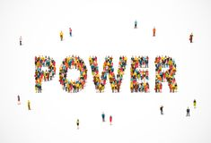 Group of people standing in the word Power. Vector illustration on white background. Concept of energy Stock Photo