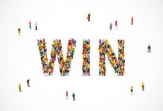 Group of people standing in the word Win. Vector illustration on white background. The concept of the winners Stock Photography