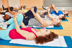 Group of people stretching Stock Photo