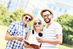 Group of people studying in the park Stock Photos