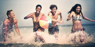 Group of People Summer Beach Vacation Carefree Concept Stock Photo
