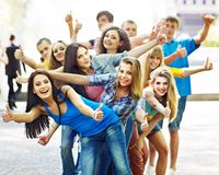 Group people in summer outdoor. Stock Photos