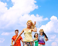 Group people summer outdoor. Stock Photo